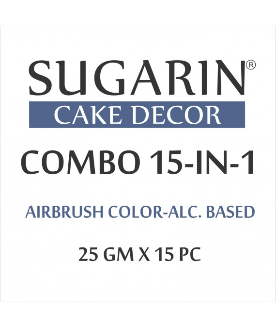 Sugarin Combo Air Brush Color Alcohol-Based Non Metallic, 25gm X 15 pcs.