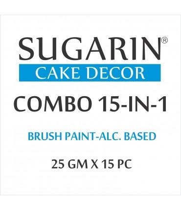 Sugarin Combo Edible Brush Paint, 25gm X 15 pcs.