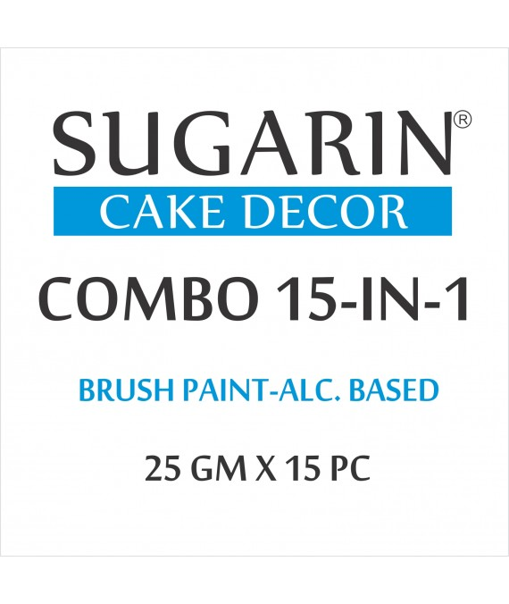 Sugarin Combo Edible Brush Paint, 25gm X 15 pcs.