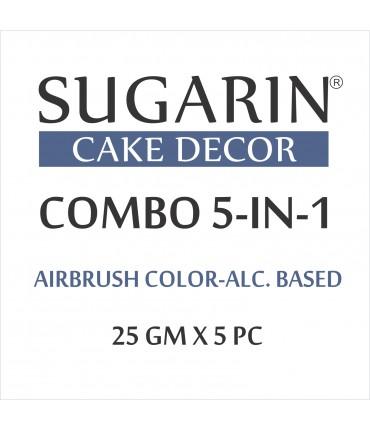 Sugarin Combo Air Brush Color Alcohol-Based Non Metallic, 25gm X 5 pcs.