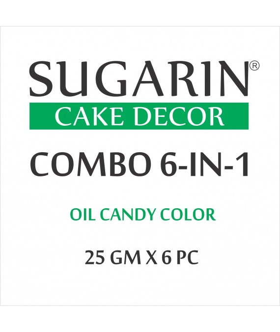 Sugarin Combo Oil Candy Color, 25gm X 6 pcs.