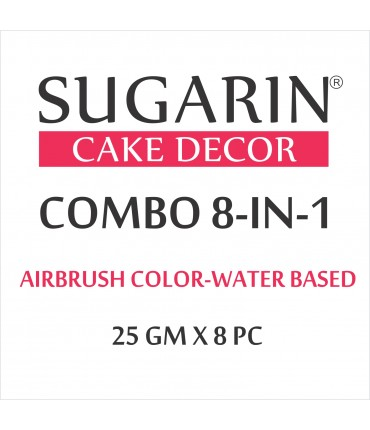 Sugarin Combo Air Brush Color Water-Based Non Metallic, 25gm X 8 pcs.