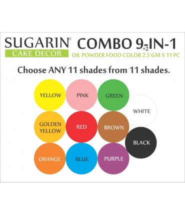 Sugarin Combo Oil Powder Food Color, 2.5gm X 11 pcs.