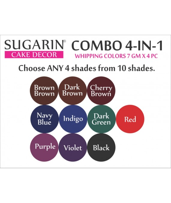 Sugarin Combo Whipping Color Gel, 7gm X 4 pcs.