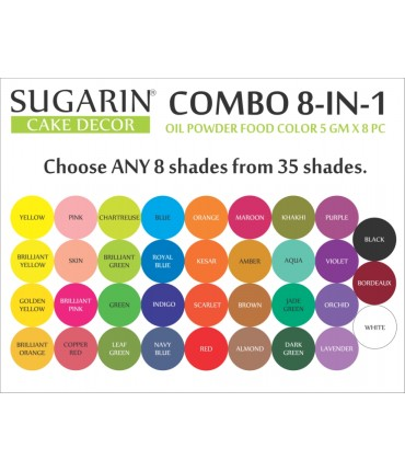 Sugarin Combo Oil Powder Food Color, 5gm X 8 pcs.