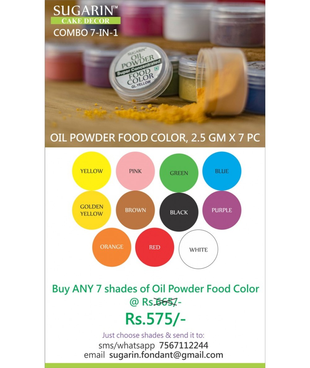 Combo Oil Powder Food Color, 2.5gm X 7 pcs.