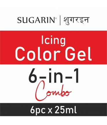 Sugarin Combo Icing Color Gel, 25ml X 6 pcs.