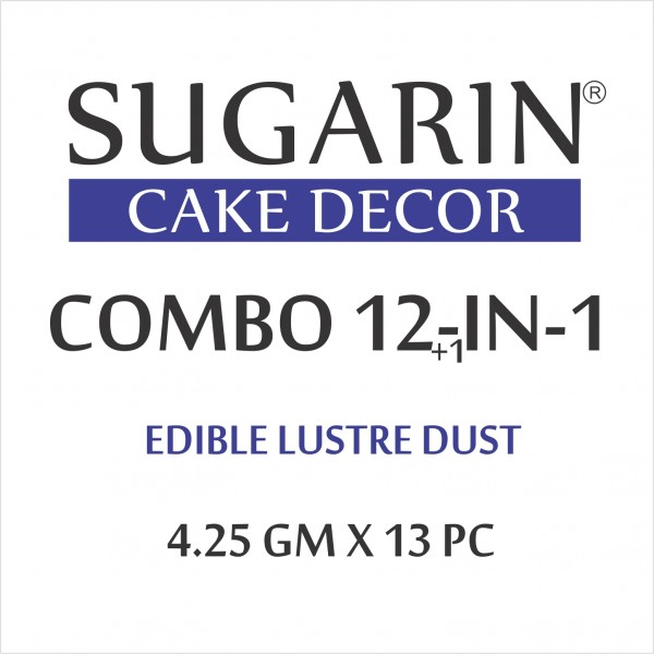 Sugarin Combo Edible Lustre Dust, 4.25gm X 13 pcs.