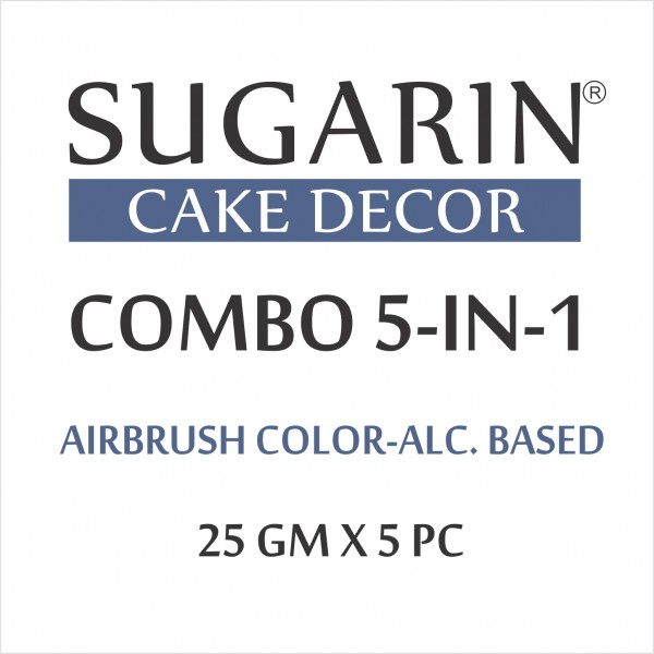 Sugarin Combo Air Brush Color Alcohol-Based Non Metallic, 25gm X 5 pcs.