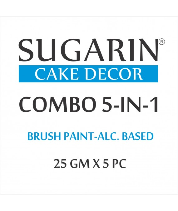 Sugarin Combo Edible Brush Paint, 25gm X 5 pcs.
