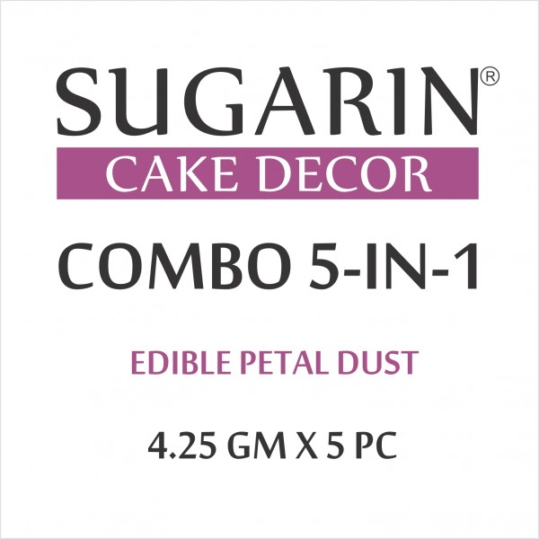 Sugarin Combo Edible Petal Dust, 4.25gm X 5 pcs.