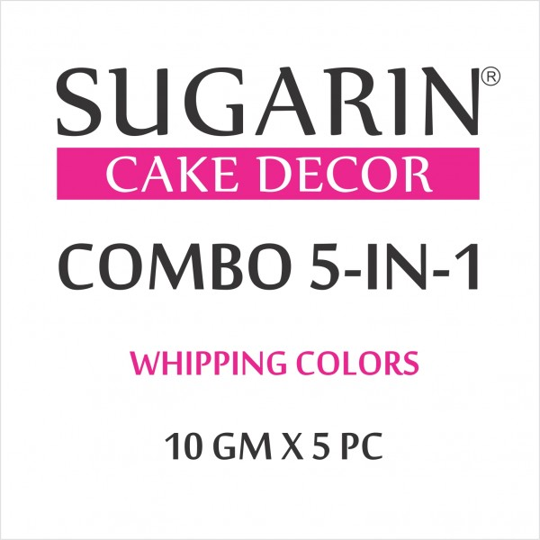 Sugarin Combo Whipping Color Gel, 10gm X 5 pcs.