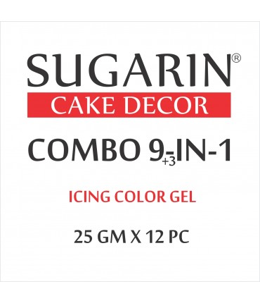 Sugarin Combo Icing Color Gel, 25ml  X 12 pcs.