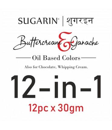 Sugarin Combo Buttercream & Ganache Colors, 30ml x 12 pcs.
