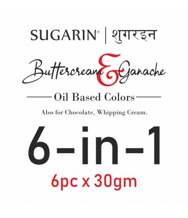 Sugarin Combo Buttercream & Ganache Colors, 30ml x 6 pcs.