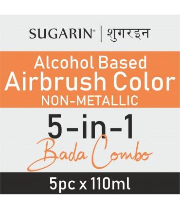 Sugarin Combo Air Brush Color Alcohol-Based Non Metallic, 110ml X 5 pcs.