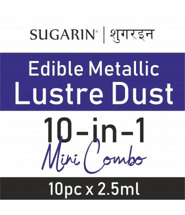 Sugarin Mini Pack Combo Edible Lustre Dust, 1gm(2.5ml) X 10pcs.