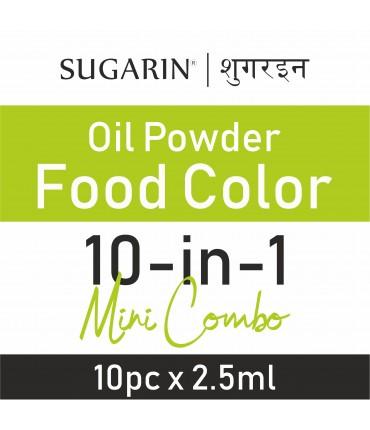 Sugarin Mini Pack Combo Oil Powder Food Color, 1gm(2.5ml) X 10 pcs.