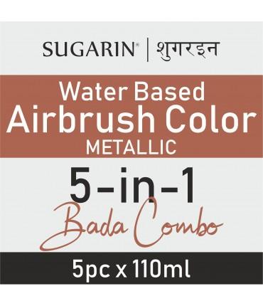 Sugarin Combo Air Brush Color Water-Based Metallic, 110ml X 5 pcs.