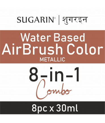 Sugarin Combo Air Brush Color Water-Based Metallic, 30ml X 8 pcs.